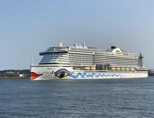 The cruise ship AIDAprima leaves the port of Kiel for the Baltic Sea
