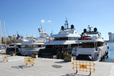 Motor yachts in the Port Vell marina in Barcelona
