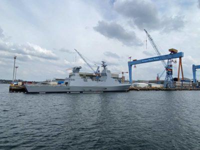Warship Israeli corvette in Kiel shipyard