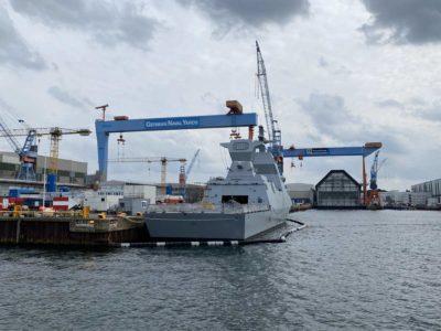 Israeli corvette in Kiel TKMS shipyard