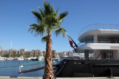 Marina Port Vell Barcelona motor yachts are moored in the marina