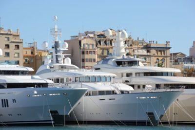 Luxury yachts in Port Vell marina Barcelona