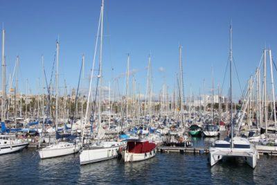 Sailboats in the port of Barcelona - Real Club Maritimo de Barcelona
