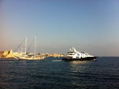 Rhodes harbor motoryach & sailing ship