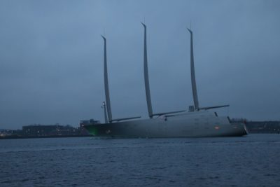 Sailing Yacht A in the Kiel Fjord - the world's largest sailing yacht leaves Kiel in February 2017