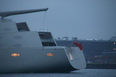 SYA Sailing Yacht A in the Kiel Fjord with an illuminated A at the stern
