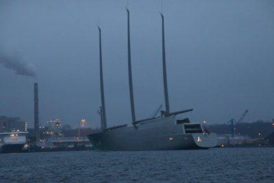SYA Sailing Yacht A leaves Kiel in February 2017