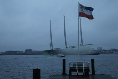 Sailing Yacht A leaving Kiel