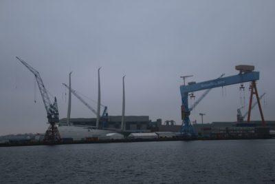 Sailing Yacht A in Kiel in the German Naval Yards shipyard