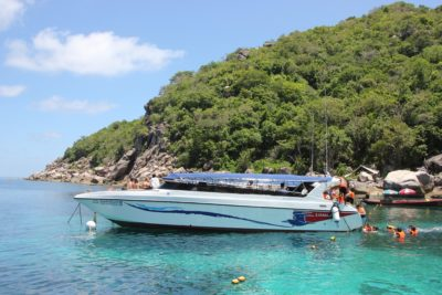 Motorboat in front of Koh Tao in Thailand - snorkeling in the Thai underwater world in the Gulf of Thailand