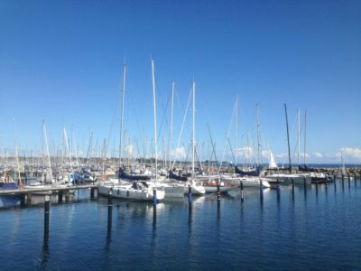 Sailing boats in the Olympic harbor in Schilksee